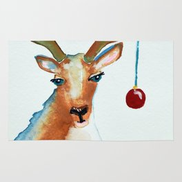 Frosty Reindeer with Blue Eyes Rug
