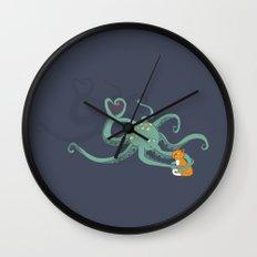 Octopus Loves Kitty Wall Clock