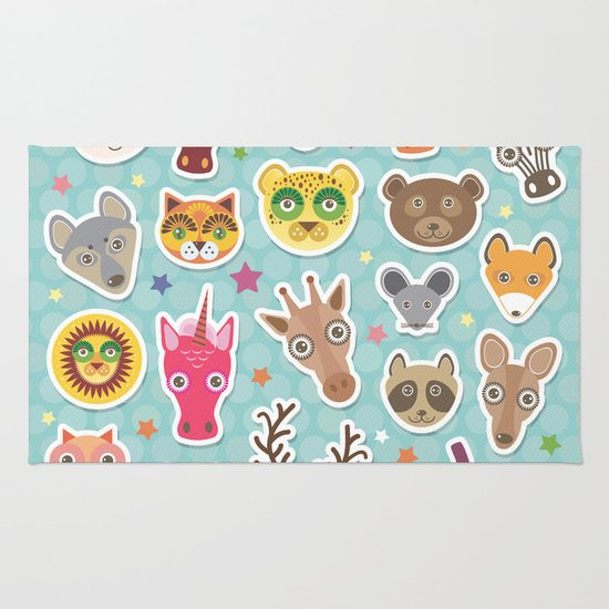 Funny Animals Muzzle. Teal Background With Stars, Polka