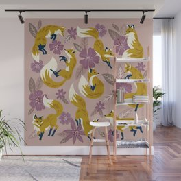 Foxes & Blooms – Lavender Palette Wall Mural