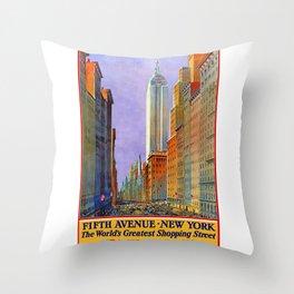New York, vintage poster Throw Pillow
