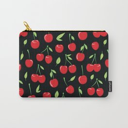 Cheerful cherry pattern. Colorful cherries on black Carry-All Pouch