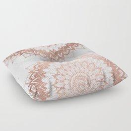 Modern chic rose gold floral mandala illustration on trendy white marble Floor Pillow