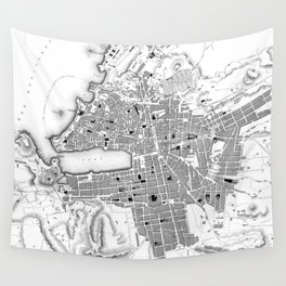 Vintage Map of Marseille France (1840) BW Wall Tapestry