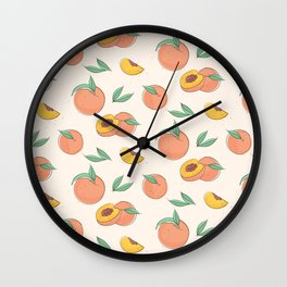 Peach with leaves Wall Clock