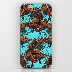 rooster ink turquoise iPhone & iPod Skin