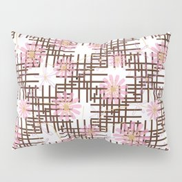 Floral pattern with black stripes. Pillow Sham