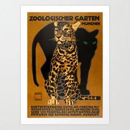 Leopard, Panther, German Zoo, Vintage Poster Art Print