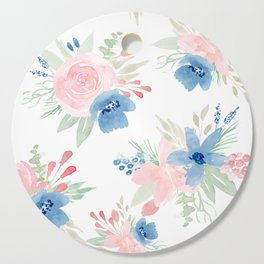 Blush Pink and Navy Watercolor Florals Cutting Board