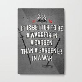 Warrior in the Garden, Martial Arts Samurai Wisdom, Metal Print