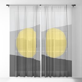 Keeping It Together - Abstract - Gray, Black, Yellow Sheer Curtain
