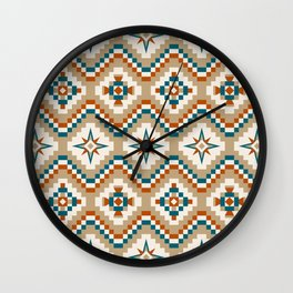 Tribal Pattern in Burnt Orange, Teal and Tan Wall Clock