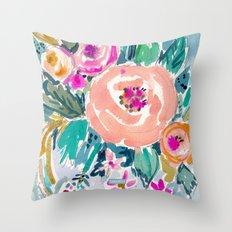 PEACH SPIN FLORAL Throw Pillow
