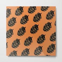 Orange Pinecone Pattern Metal Print