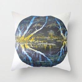 Reflections on Burlton Pool Shropshire UK Throw Pillow