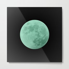 TEAL MOON // BLACK SKY Metal Print