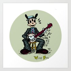 Wise Dog and his Banjo Art Print
