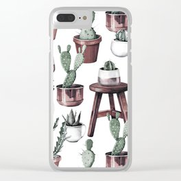 Happy Potted Cacti in Rose Gold Pots Clear iPhone Case