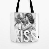 lesbian Tote Bags featuring Barbie Lesbian KISS  by Jane Hazlewood