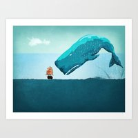 whale Art Prints featuring Whale by mark ashkenazi