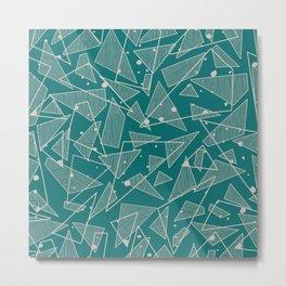 Geometric Stylish Pattern - Triangles in Teal Metal Print