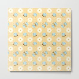 Cute Bees & Daises Pattern with Gingham Background Metal Print