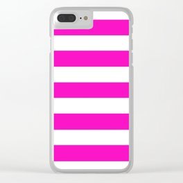 Shocking pink - solid color - white stripes pattern Clear iPhone Case