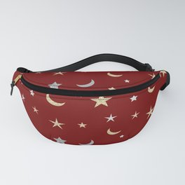 Gold and silver moon and star pattern on red background Fanny Pack