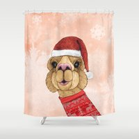 alpaca Shower Curtains featuring Alpaca Christmas by Barruf