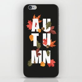 Autumn word and leaves WHITE iPhone Skin