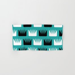 Mid Century Modern Abstract Flowers Teal Hand & Bath Towel