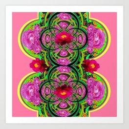 PINK PEONIES GREEN ABSTRACT GARDEN ART Art Print