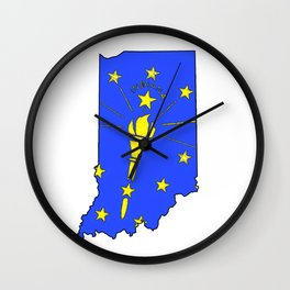 Indiana Map with Indiana State Flag Wall Clock