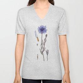 blue cornflower and knife Unisex V-Neck