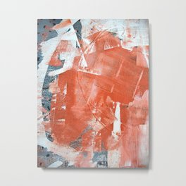 Interrupt [1]: a pretty minimal abstract acrylic piece in pink white and blue by Alyssa Hamilton Art Metal Print