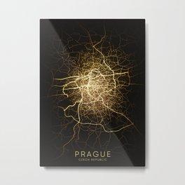 prague Czech Republic city night light map Metal Print