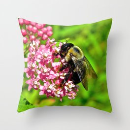 Bombus Auricomus  Throw Pillow