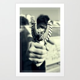 Boy with a slingshot Art Print