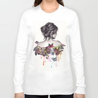 watercolor Long Sleeve T-shirts featuring Butterfly Effect by KatePowellArt