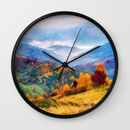 Autumn in the mountains Wall Clock
