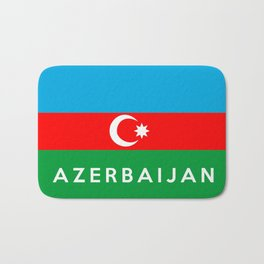 Azerbaijan country flag name text Bath Mat