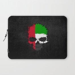 Flag of United Arab Emirates on a Chaotic Splatter Skull Laptop Sleeve