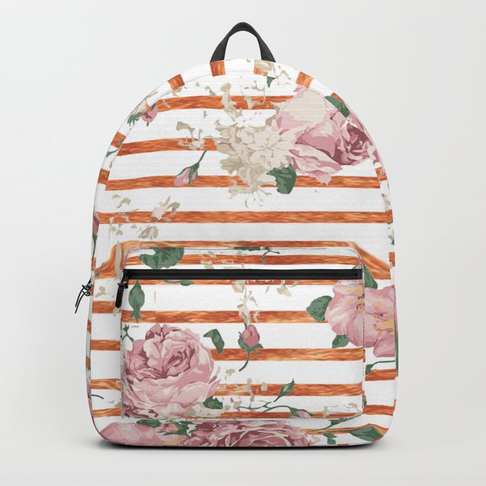 Vintage Pink Roses Gold Stripes Backpack