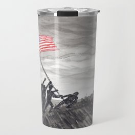 Raising the flag at Iwo Jima Travel Mug