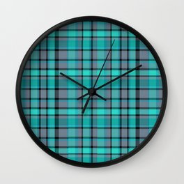 Teal Plaid Wall Clock