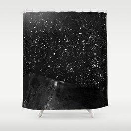 Moon Rising in the dark Black and White Shower Curtain