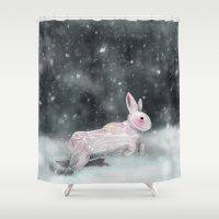 rabbit Shower Curtains featuring White Rabbit by Ben Geiger