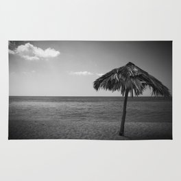 Caribean beach b&w Rug