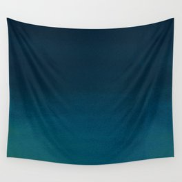 Navy blue teal hand painted watercolor paint ombre Wall Tapestry