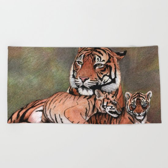 Family of tigers Beach Towel